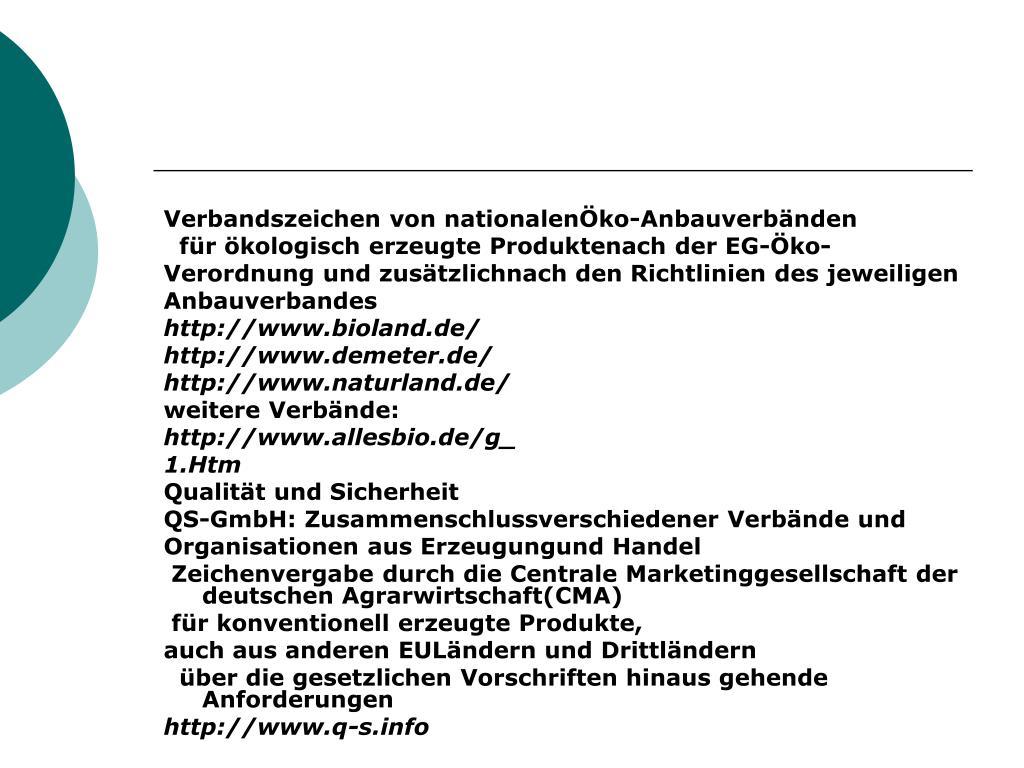 Verbandszeichen von nationalenÖko-Anbauverbänden