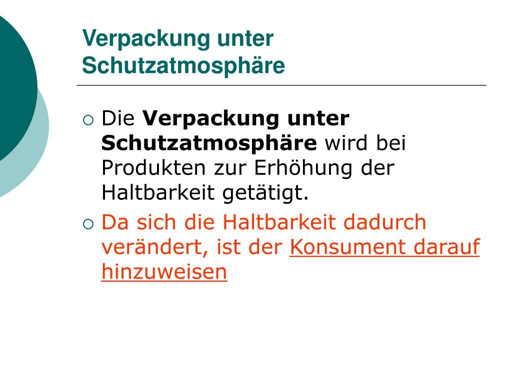 Verpackung unter Schutzatmosphäre