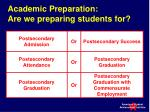 academic preparation are we preparing students for