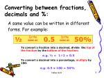 converting between fractions decimals and