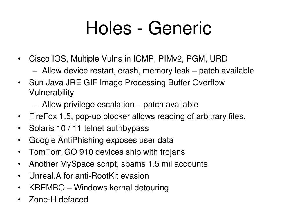 Holes - Generic