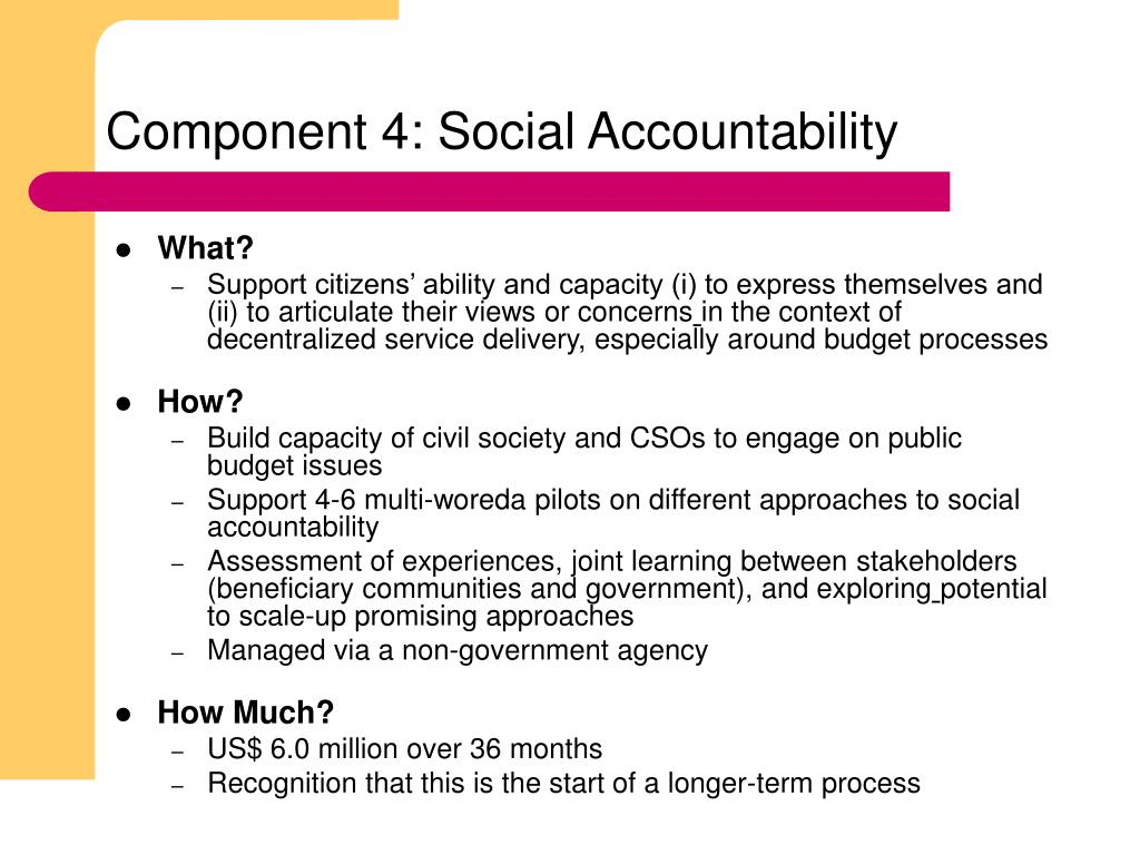 Component 4: Social Accountability