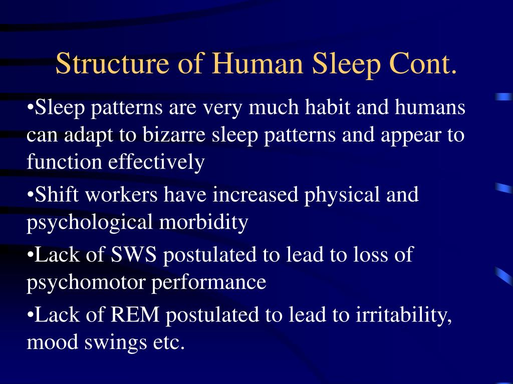 Structure of Human Sleep Cont.