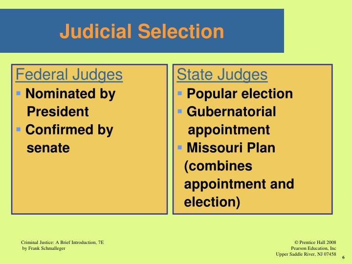 the methods of judicial selection for federal appellate judges state appellate judges and state tria Directories of courts and the method of selection and length of terms for state trial court judges of the united states courts, federal judicial.