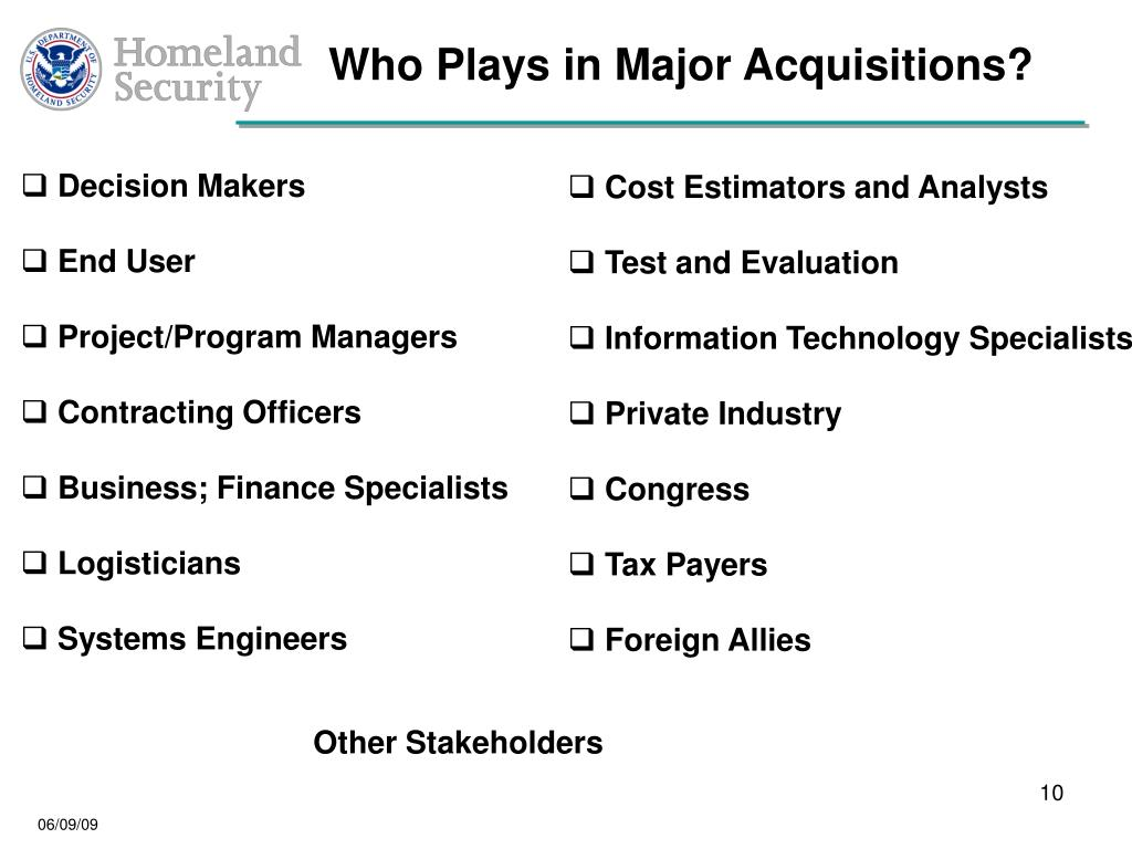 Who Plays in Major Acquisitions?