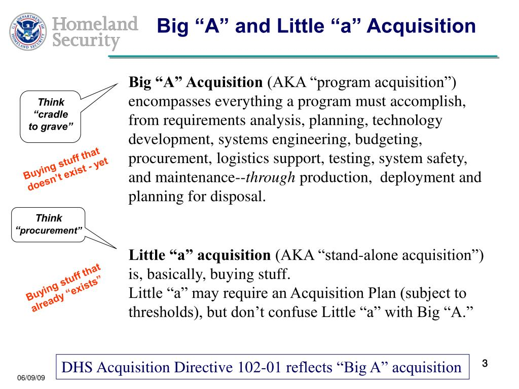 "Big ""A"" and Little ""a"" Acquisition"