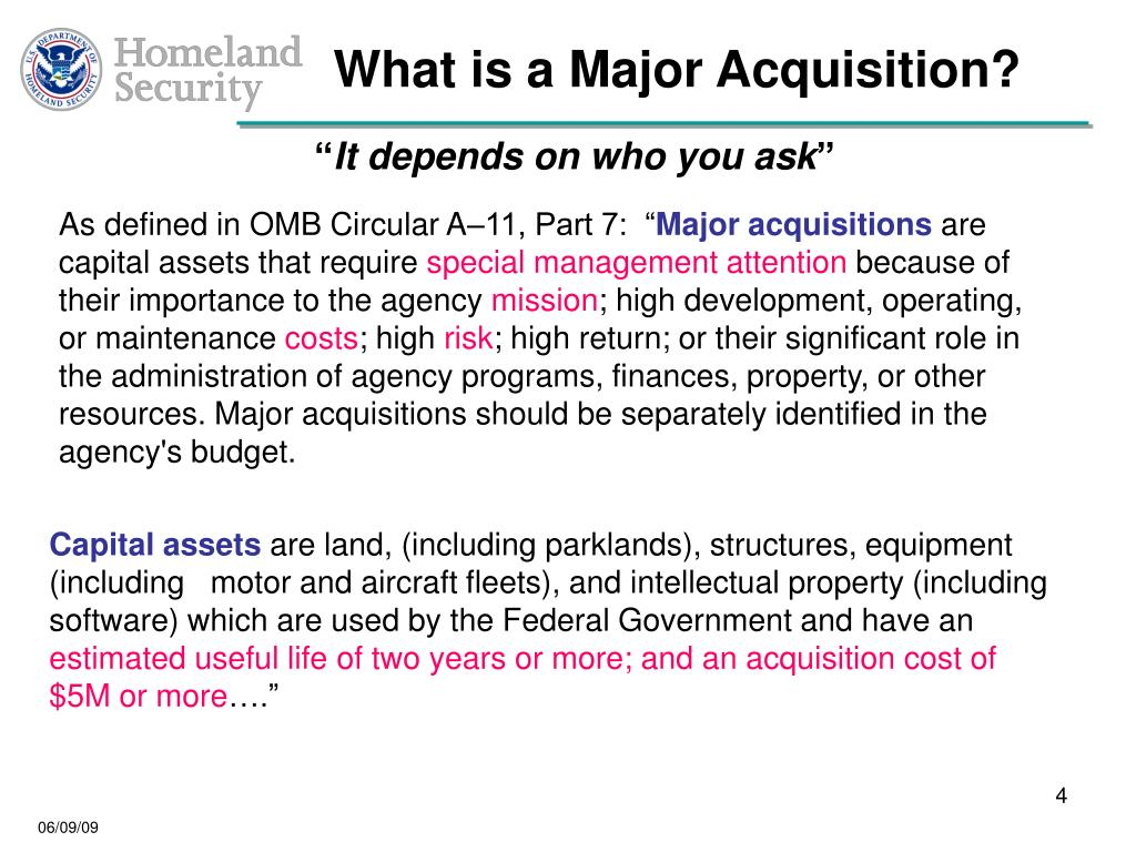 What is a Major Acquisition?