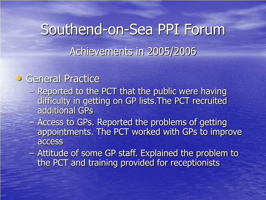 Southend-on-Sea PPI Forum
