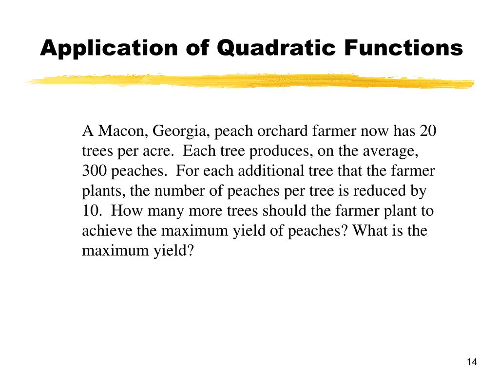 Application of Quadratic Functions