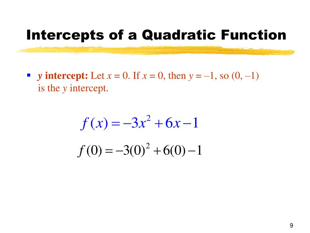 Intercepts of a Quadratic Function