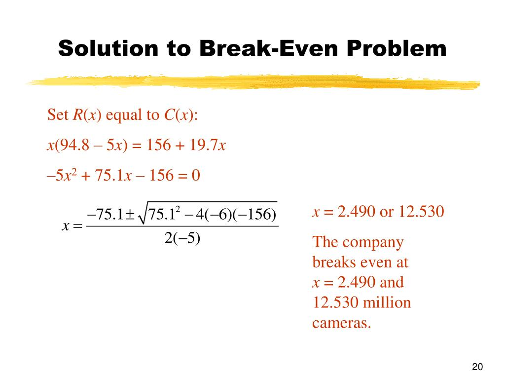 Solution to Break-Even Problem