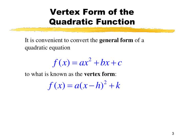 Vertex form of the quadratic function