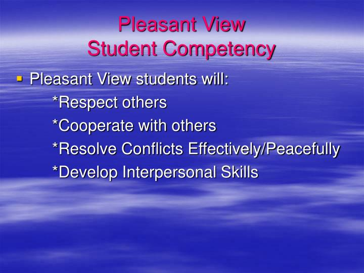 Pleasant view student competency