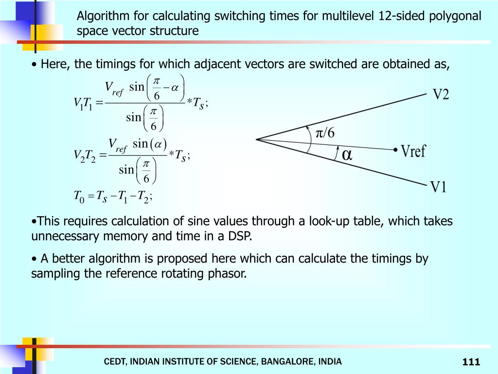 Algorithm for calculating switching times for multilevel 12-sided polygonal space vector structure