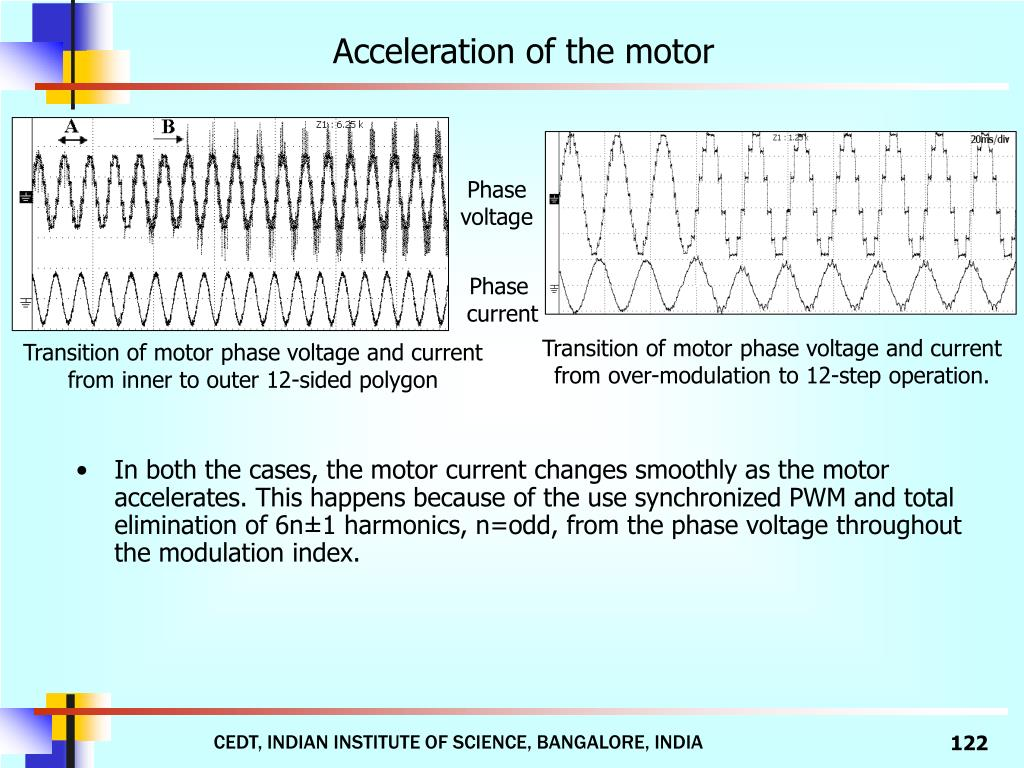 Acceleration of the motor