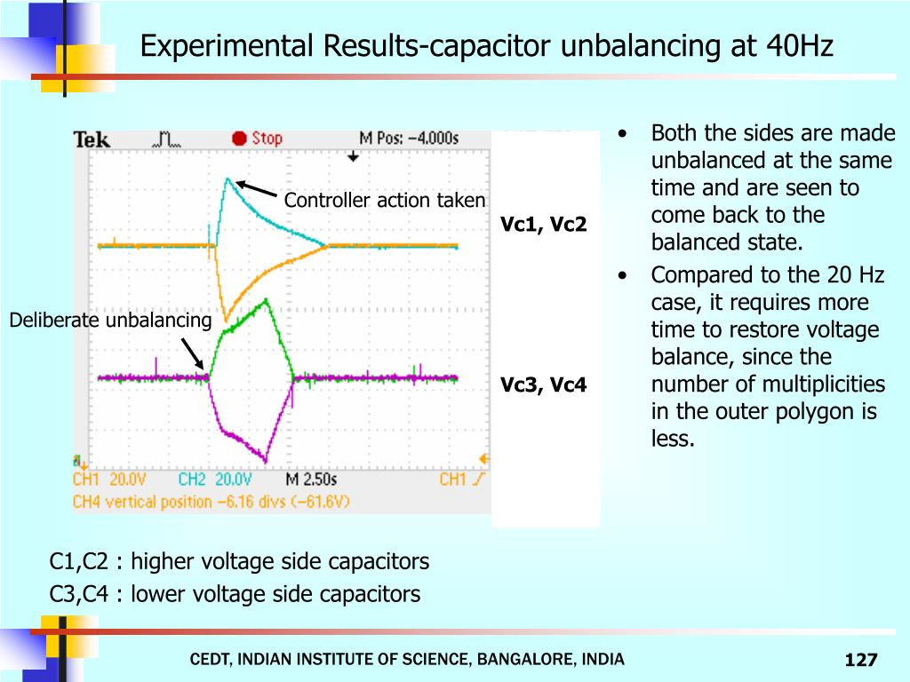 Experimental Results-capacitor unbalancing at 40Hz