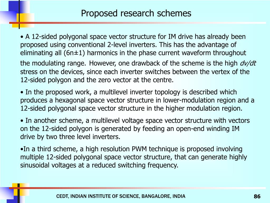 Proposed research schemes