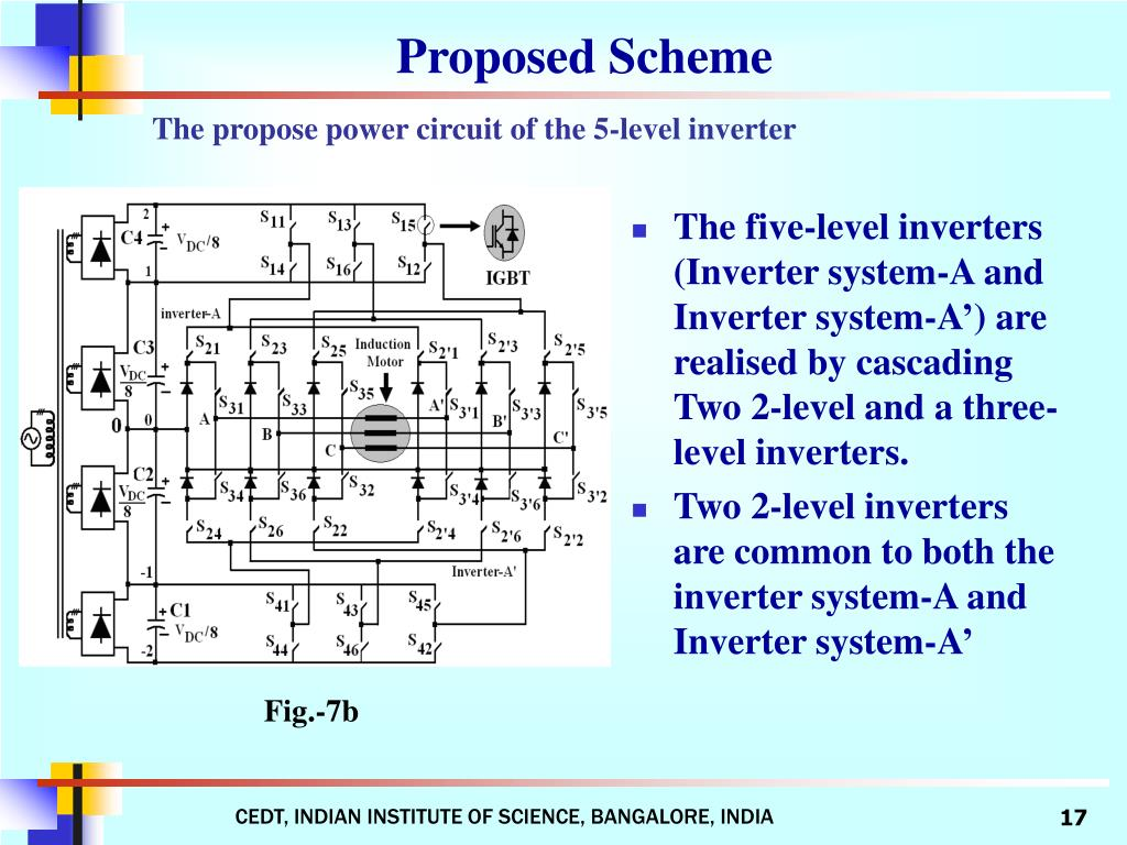 The five-level inverters (Inverter system-A and Inverter system-A') are realised by cascading