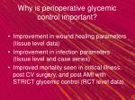 why is perioperative glycemic control important