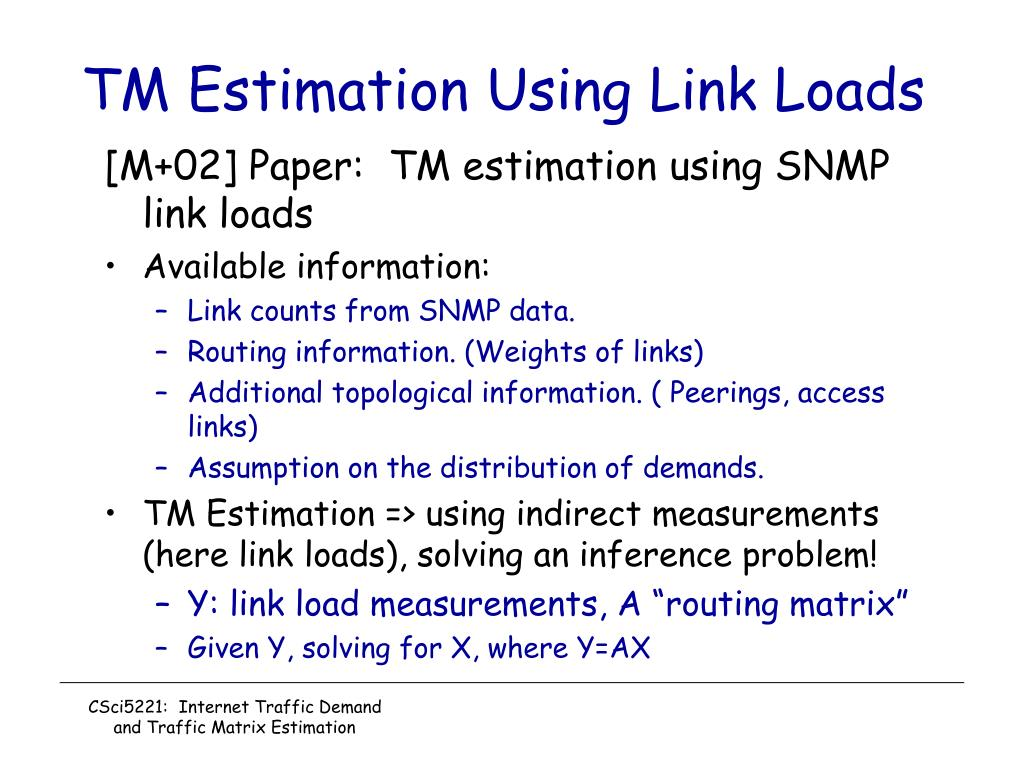 TM Estimation Using Link Loads