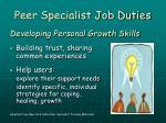 peer specialist job duties
