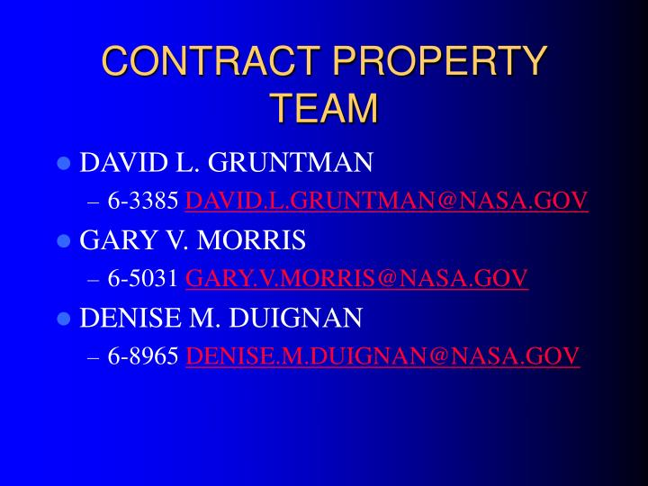 Contract property team