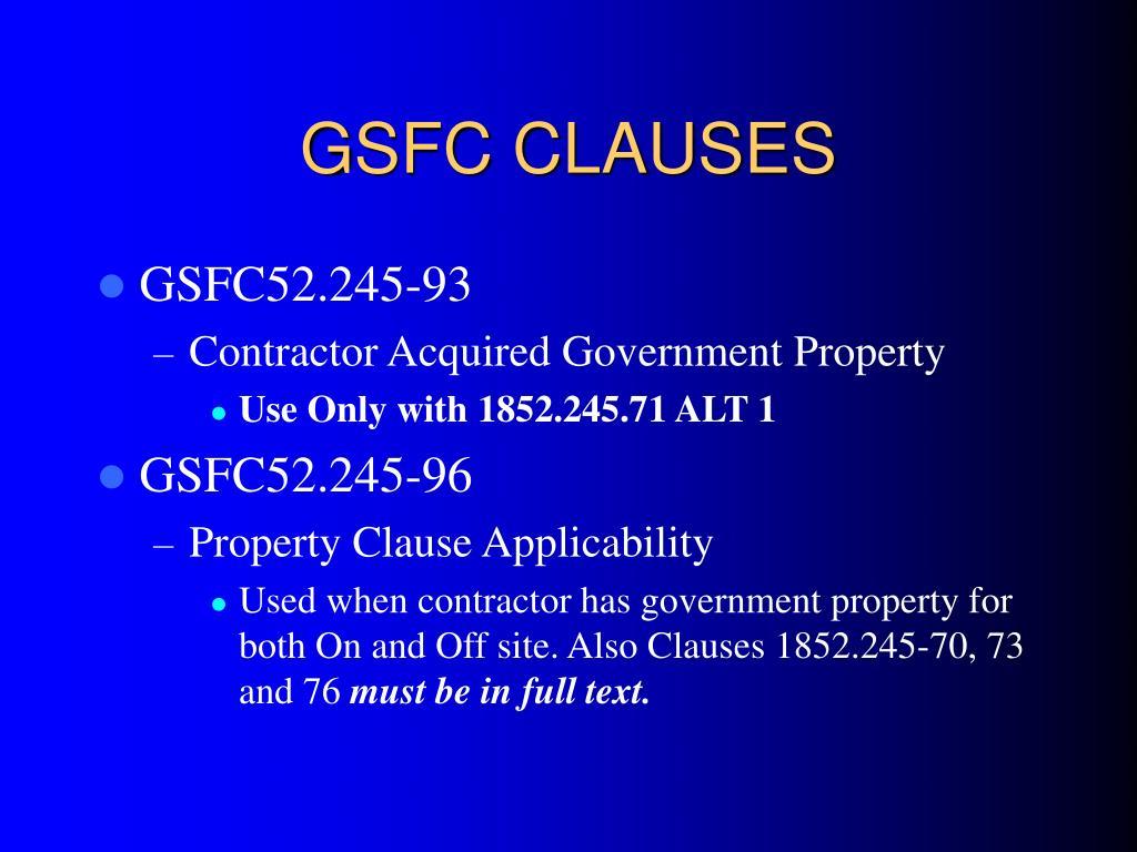 GSFC CLAUSES