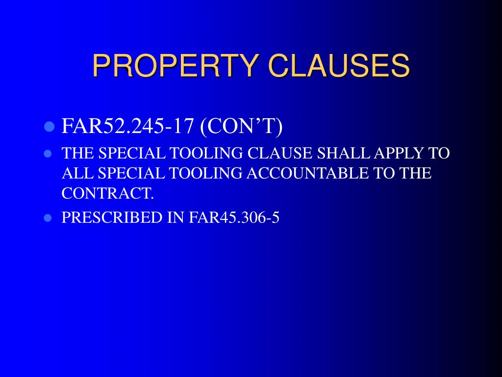 PROPERTY CLAUSES