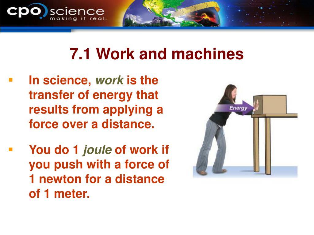 7.1 Work and machines