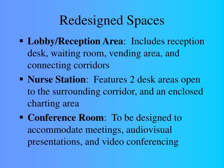 Redesigned spaces