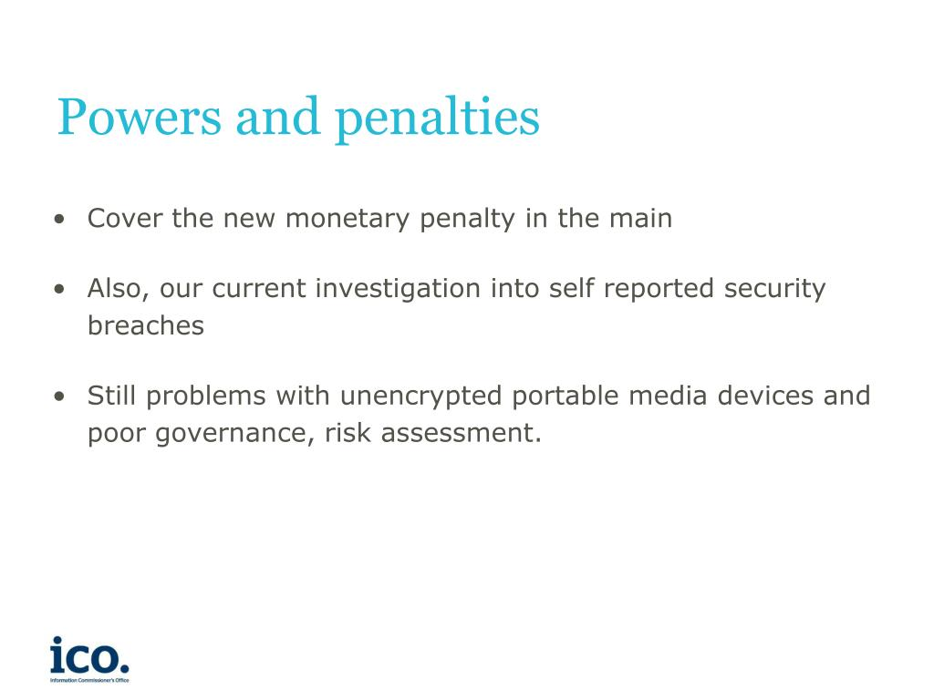 Powers and penalties