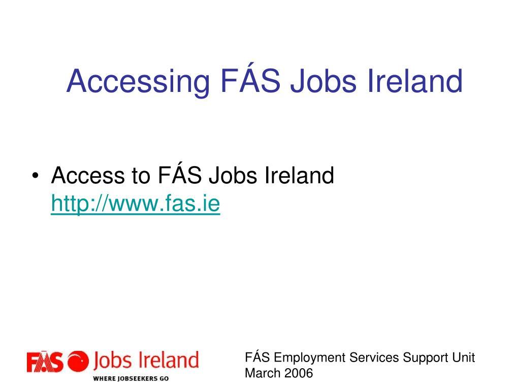 Accessing FÁS Jobs Ireland