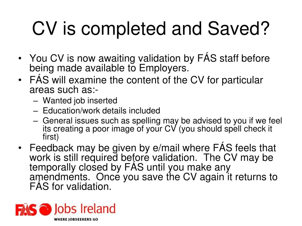 CV is completed and Saved?