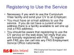 registering to use the service