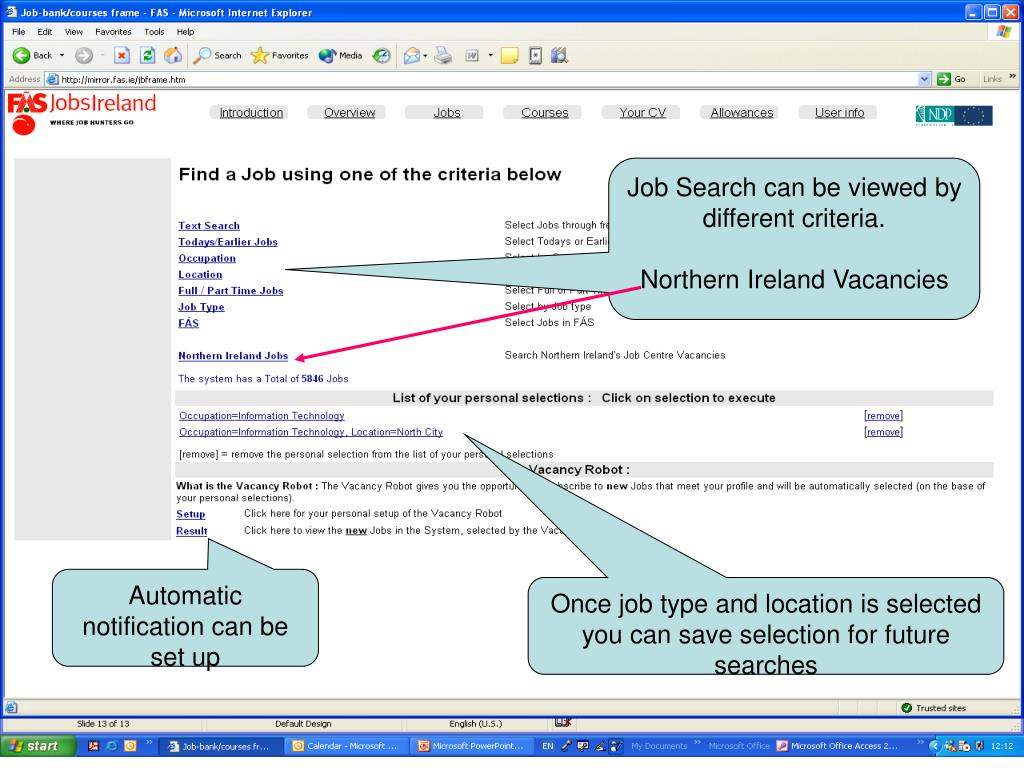 Job Search can be viewed by different criteria.