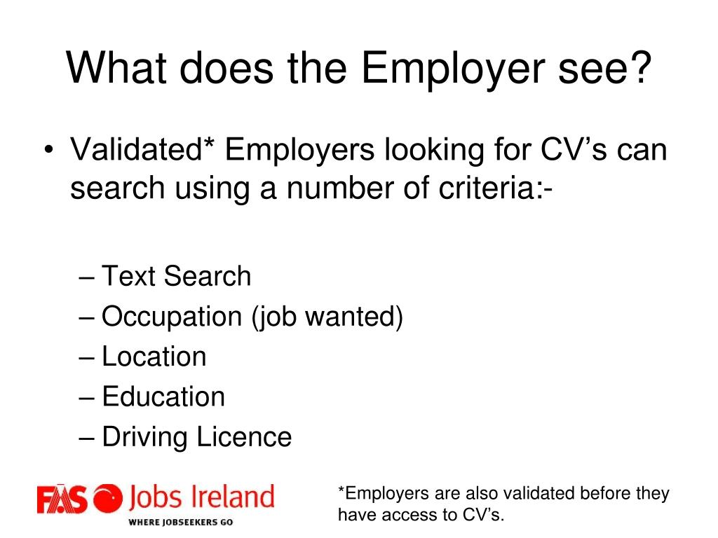 What does the Employer see?