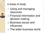 4 areas of study
