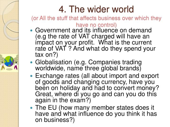 4. The wider world
