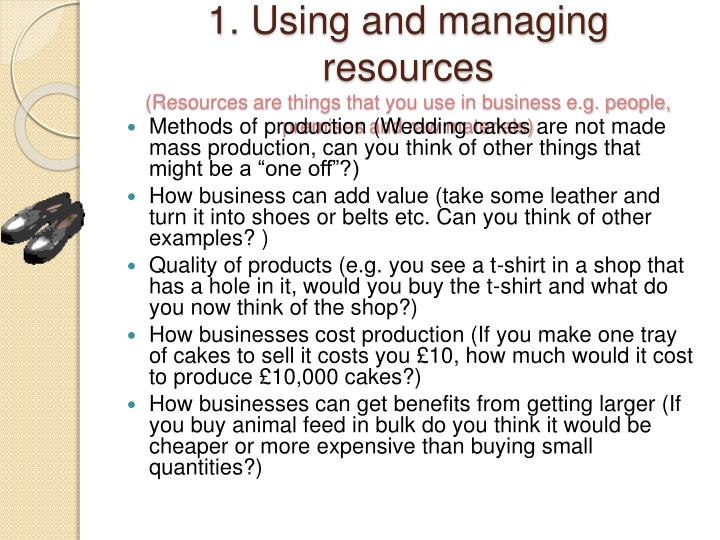 1. Using and managing resources