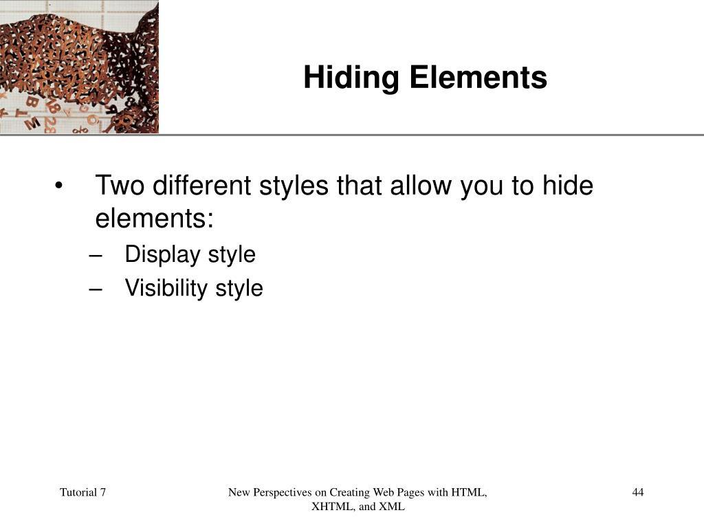 Hiding Elements