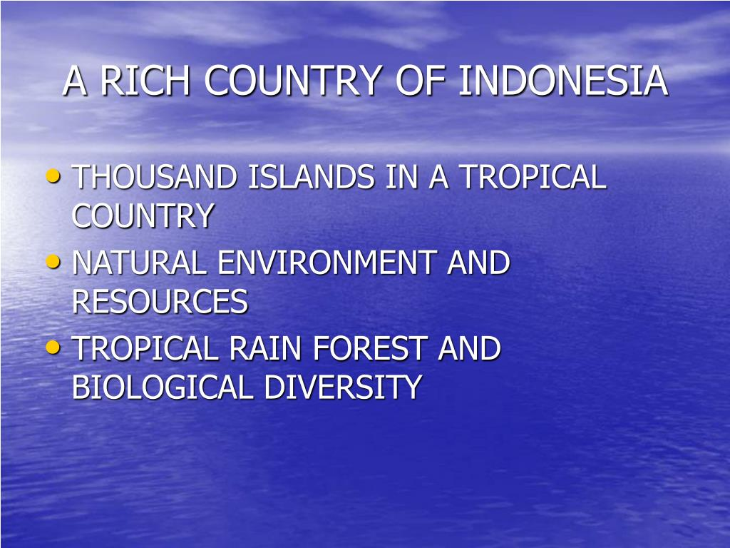 A RICH COUNTRY OF INDONESIA