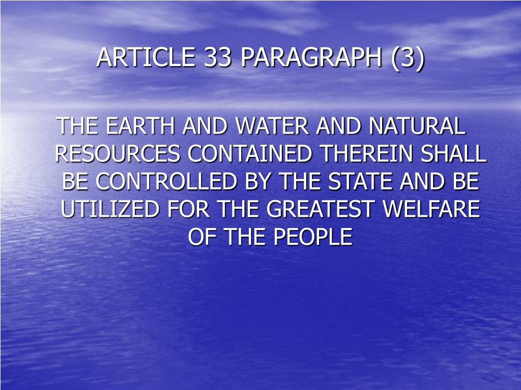 ARTICLE 33 PARAGRAPH (3)