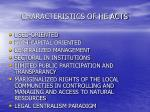 characteristics of he acts