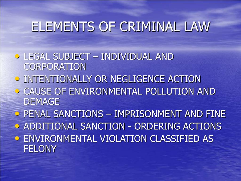ELEMENTS OF CRIMINAL LAW