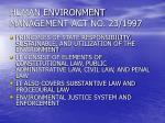 human environment management act no 23 1997