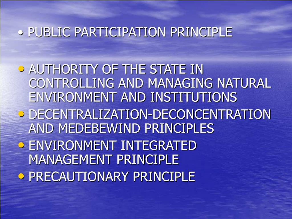 PUBLIC PARTICIPATION PRINCIPLE