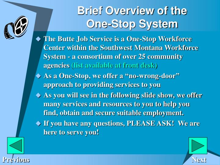 Brief overview of the one stop system