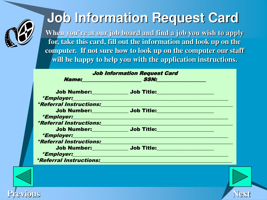 Job Information Request Card