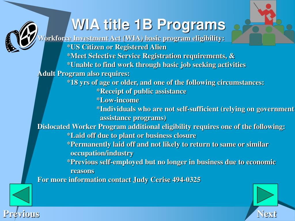 WIA title 1B Programs