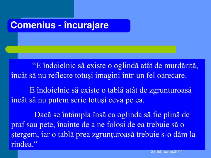 Comenius - încurajare
